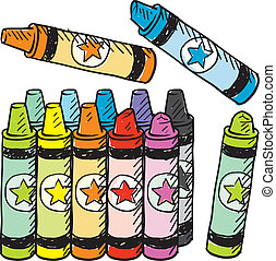 Colorful crayons sketch - Doodle style colorful crayons...