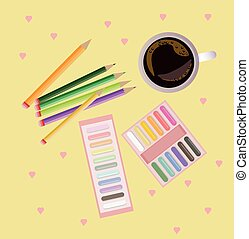 Colorful crayons top view background Vector illustration
