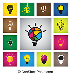 colorful creative idea bulb icons & symbols - concept vector gra