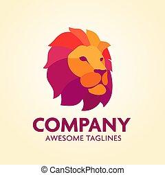 Colorful Creative Lion Head Logo Design