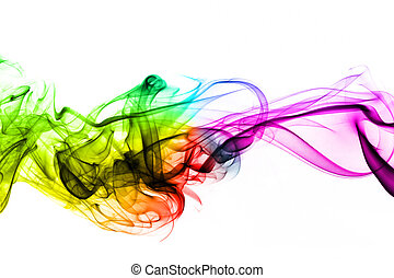 Colorful creative smoke waves on white background