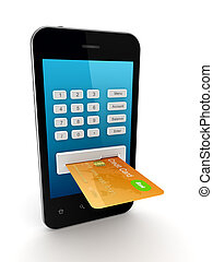 Colorful credit card connected to mobile phone.