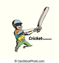 colorful cricket player hit the big ball vector...