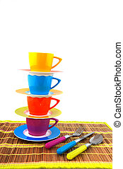 colorful crockery for the camping