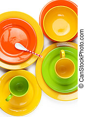 Colorful crockery - Set of empty colorful ceramic dishware...