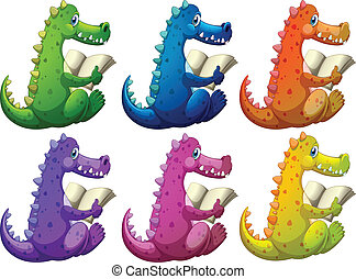 Colorful crocodiles reading - Illustration of the colorful...