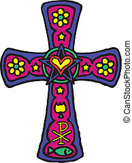 Colorful cross - Christianity illustration