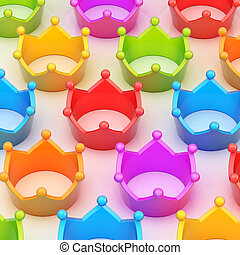Colorful crowns over the white surface