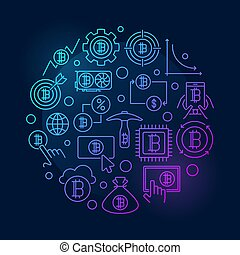 Colorful crypto round symbol