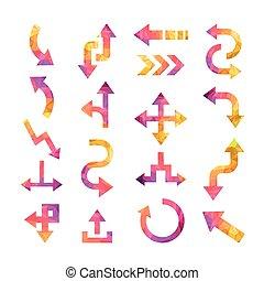 colorful crystal arrows set