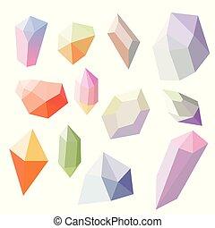 Colorful crystal stones set isolated on white background