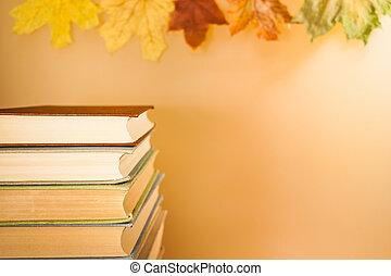 colorful csillogó, zöld, space., ősz, rendes, előjegyez, háttér, másol, kazal, juharfa
