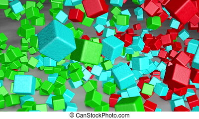 Colorful cubes fall to the floor. 3d animation