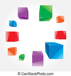 colorful cubes flying out of the center