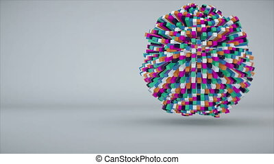 Colorful cubes making up the sphere. Seamless loop