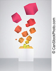 Colorful cubes on grey background.