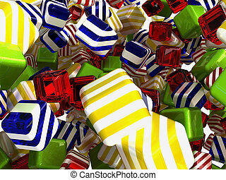 Colorful cubes or bonbons on white