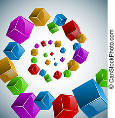 Colorful cubes spiral
