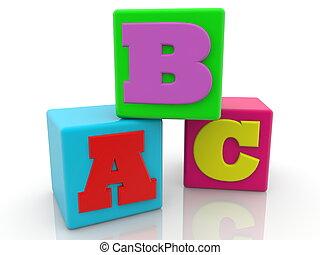 Colorful cubes with letter concept.3d illustration