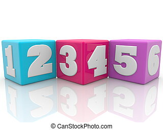 Colorful cubes with numbers.3d illustration