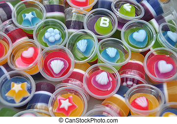 Colorful cup fruit jelly. - Colorful cup fruit jelly close ...