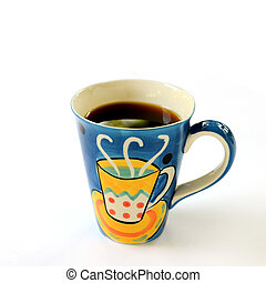 Colorful cup of coffee isolated on white background