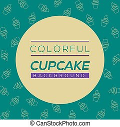 Colorful Cupcake Background Vector Illustration