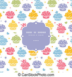 Colorful cupcake party seamless pattern background
