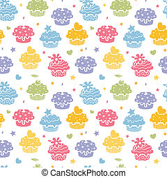 Colorful cupcake party seamless pattern background - Vector...