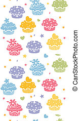 Colorful cupcake party vertical seamless pattern background