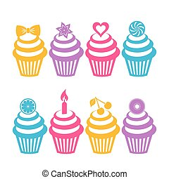 Colorful cupcake silhouettes