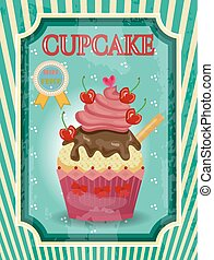 Colorful cupcake with red cherries and cream, text