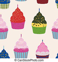 colorful cupcakes and candles background repeat
