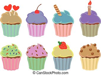 Colorful Cupcakes Vector Design Elements