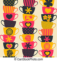 Colorful Cups Background - Seamless pattern with piles of...