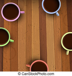 Colorful cups of coffee on wooden table