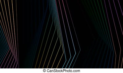 Colorful rainbow curved lines refraction motion design. Abstract futuristic background. Video animation Ultra HD 4K 3840x2160