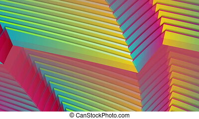 Colorful curved stripes refraction abstract concept motion background. Seamless looping. Video animation HD 1920x1080