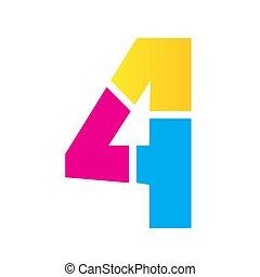 colorful custom number four 4 logo vector design illustration