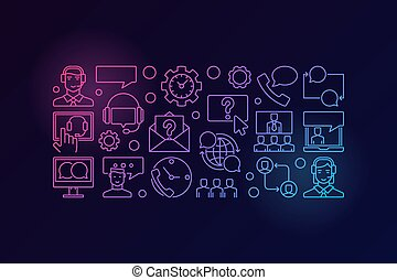 Colorful customer service and support vector banner
