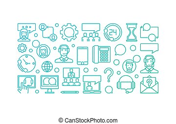 Colorful customer support and service vector banner