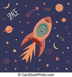 Colorful cute cartoon doodle rocket with green female alien in outer space. Galaxy pattern for prints on t-shirt, fabric, paper. Vector stock illustration.