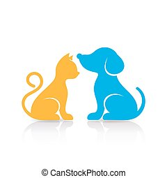 Colorful cute cat and dog silhouettes