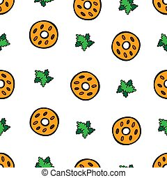 Colorful cute cookies on white background. Seamless pattern