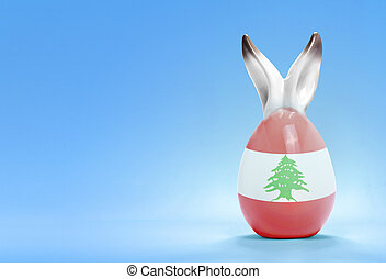 Colorful cute easter egg and the flag of Lebanon .(series)