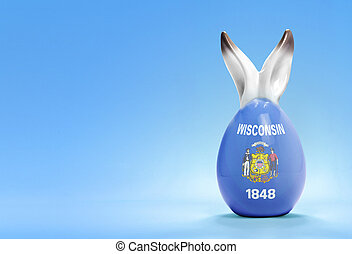 Colorful cute easter egg and the flag of Wisconsin .(series)