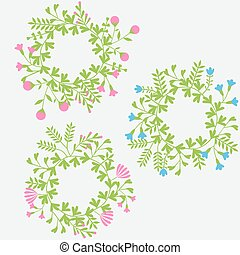 Colorful cute floral set with wreath leaves and flowers
