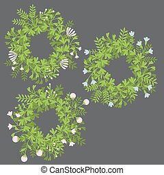 Colorful cute floral set with wreath, leaves and flowers