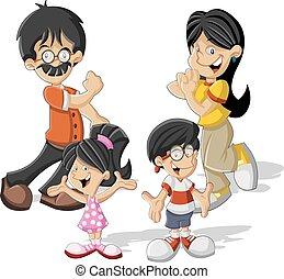cartoon asian family