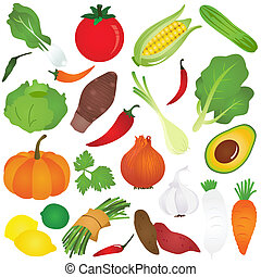 Fruits, vegetable, food - Colorful Cute vector Icons : ...